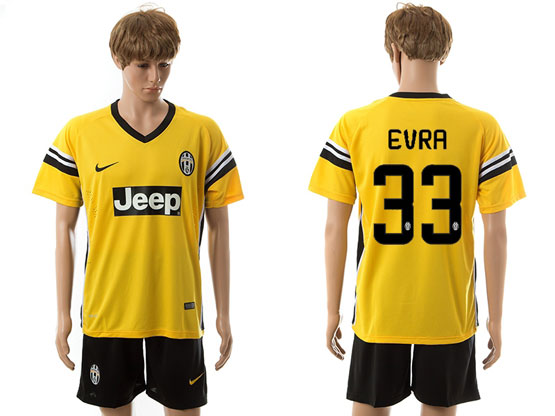 Mens 15-16 Soccer Juventus Club #33 Evra Away Yellow Jersey Set