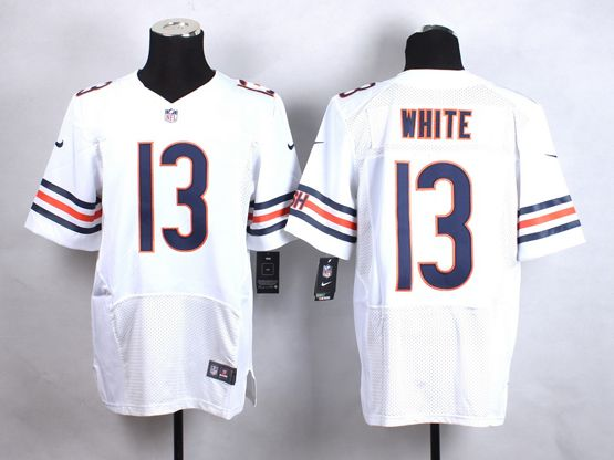 Mens Nfl Chicago Bears #13 White White Elite Jersey