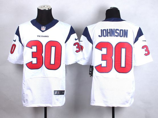 Mens Nfl Houston Texans #30 Johnson White Elite Jersey