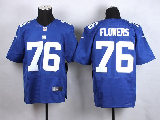 Mens Nfl New York Giants #76 Flowers Blue Elite Jersey