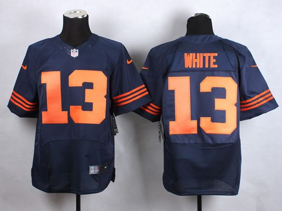 Mens Nfl Chicago Bears #13 White Blue (big Number) Elite Jersey
