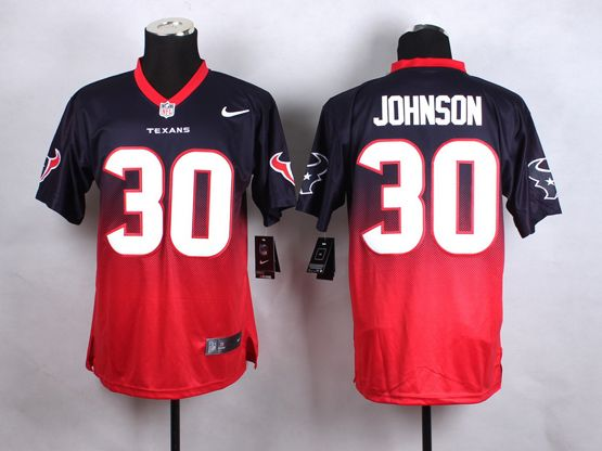Mens Nfl Houston Texans #30 Johnson Blue&red Drift Fashion Ii Elite Jersey