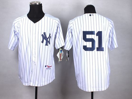 Mens mlb new york yankees #51 williams white (no name) Jersey