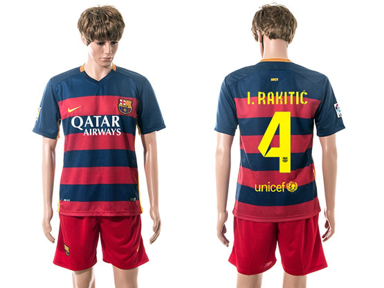 mens 15-16 soccer barcelona club #4 i.rakitic blue&red stripe home Suit Jersey