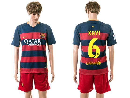 mens 15-16 soccer barcelona club #6 xavi blue&red stripe home Suit Jersey
