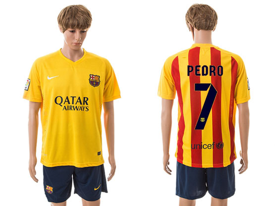 Mens 15-16 Soccer Barcelona Club #7 Pedro Away Yellow Jersey Set