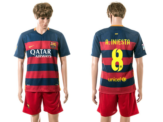 Mens 15-16 Soccer Barcelona Club #8 A.iniesta Blue&red Stripe Home Jersey Set