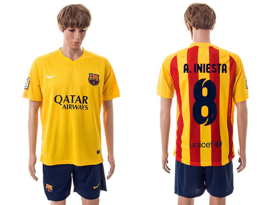 Mens 15-16 Soccer Barcelona Club #8 A.iniesta Away Yellow Jersey Set