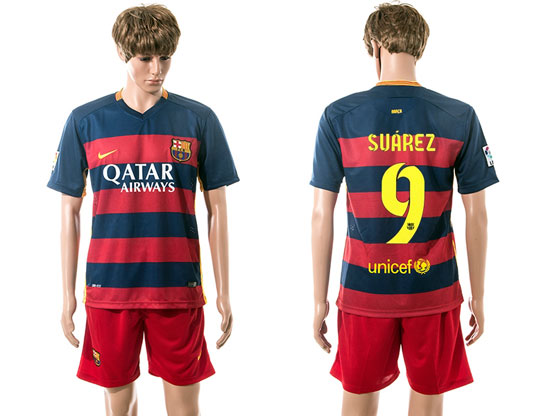 mens 15-16 soccer barcelona club #9 suarez blue&red stripe home Suit Jersey