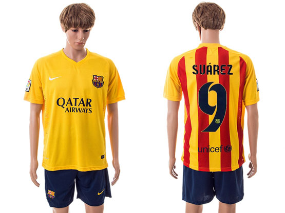 Mens 15-16 Soccer Barcelona Club #9 Suarez Away Yellow Jersey Set
