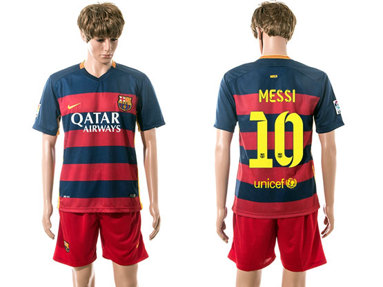 Mens 15-16 Soccer Barcelona Club #10 Messi Blue&red Stripe Home Jersey Set