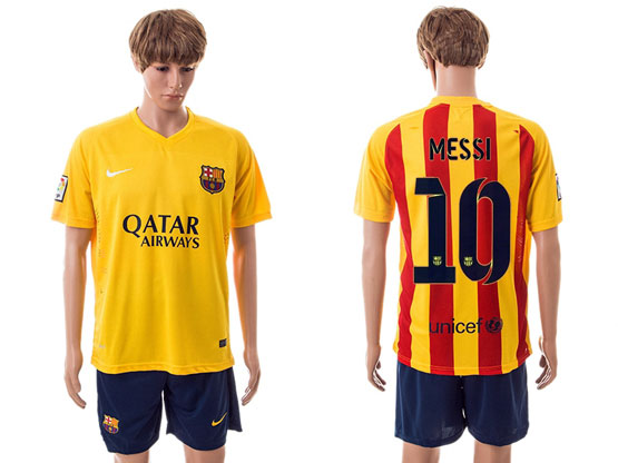 Mens 15-16 Soccer Barcelona Club #10 Messi Away Yellow Jersey Set