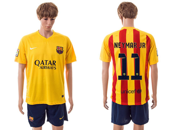 Mens 15-16 Soccer Barcelona Club #11 Neymar Jr Away Yellow Jersey Set