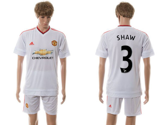 Mens 15-16 Soccer Manchester United Club #3 Shaw White Away Jersey Set
