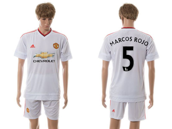 Mens 15-16 Soccer Manchester United Club #5 Marcos Rojo White Away Jersey Set