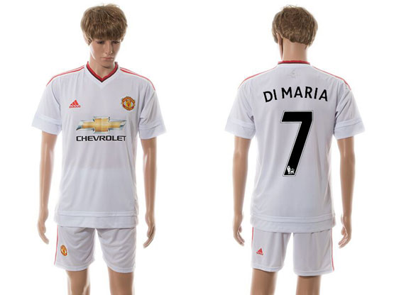 mens 15-16 soccer manchester united club #7 di maria white away Suit Jersey