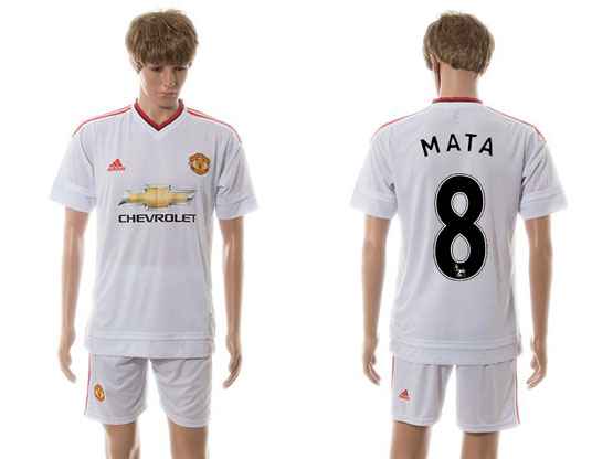 mens 15-16 soccer manchester united club #8 mata white away Suit Jersey