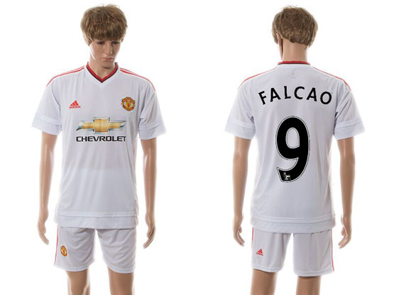 Mens 15-16 Soccer Manchester United Club #9 Falcao White Away Jersey Set