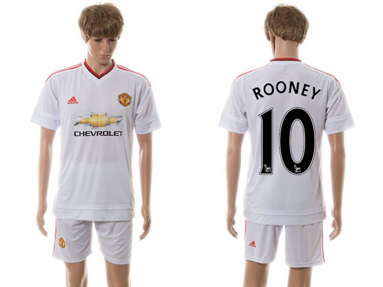 Mens 15-16 Soccer Manchester United Club #10 Rooney White Away Jersey Set