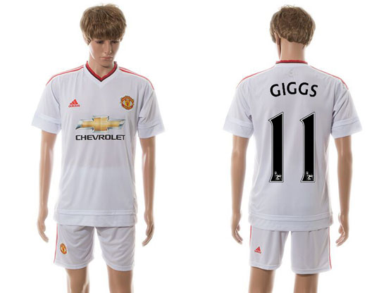mens 15-16 soccer manchester united club #11 giggs white away Suit Jersey