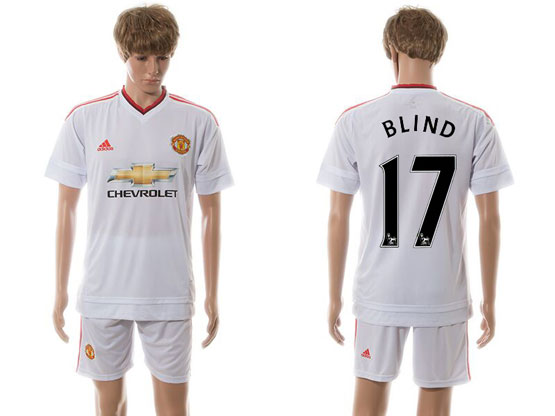 Mens 15-16 Soccer Manchester United Club #17 Blind White Away Jersey Set