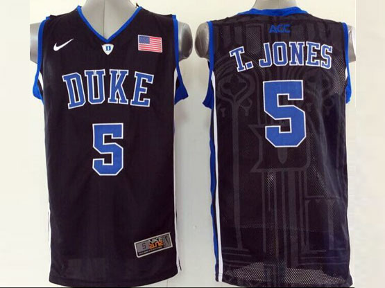 Mens Ncaa Nba Duke Blue Devils #5 T.jonesw Black (v Neck) Jersey
