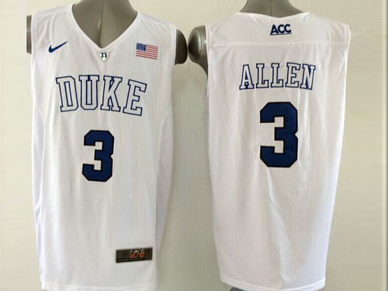 Mens Ncaa Nba Duke Blue Devils #3 Allen White (v Neck) Jersey