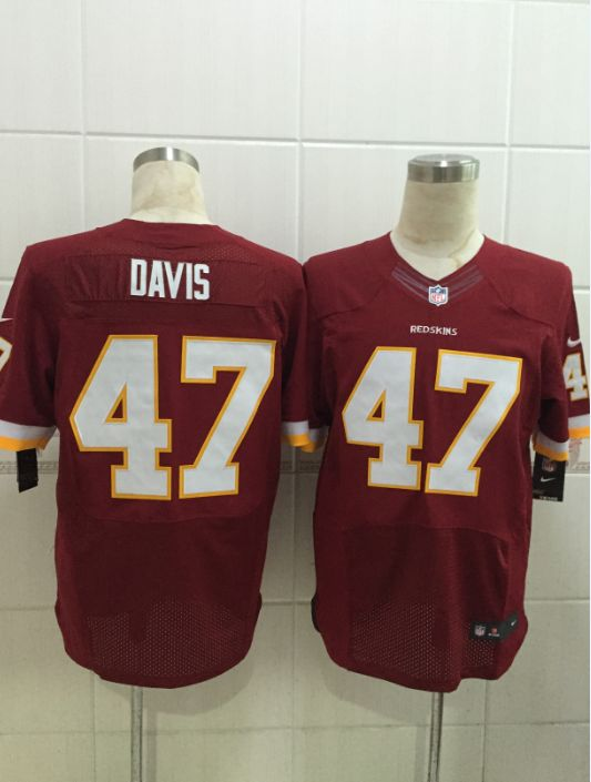 Women  Nfl Washington Redskins #47 Davis Red (white Number) Elite Jersey