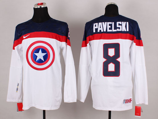 Mens nhl captain america #8 pavelski white Jersey