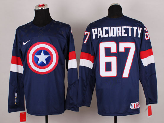 Mens nhl captain america #67 pacioretty blue Jersey