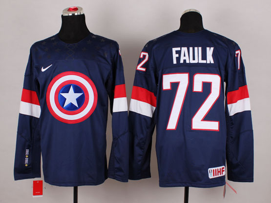 Mens nhl captain america #72 faulk blue Jersey