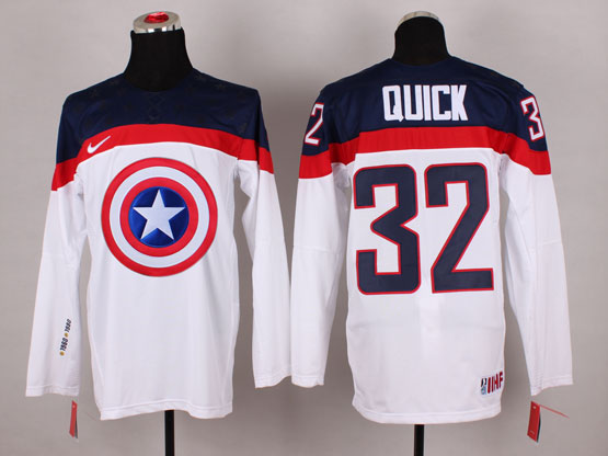 Mens nhl captain america #32 quick white Jersey