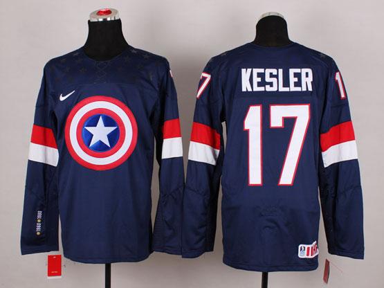 Mens nhl captain america #17 kesler blue Jersey