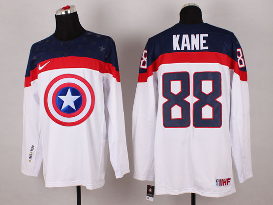 Mens nhl captain america #88 kane white Jersey