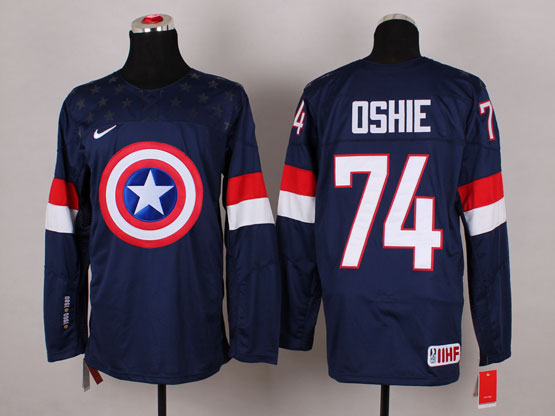 Mens nhl captain america #74 oshie blue Jersey