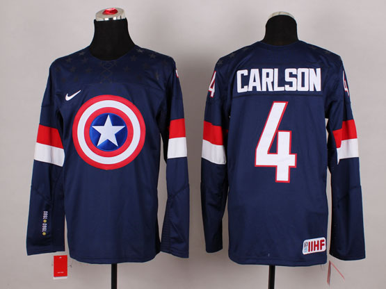 Mens nhl captain america #4 carlson blue Jersey