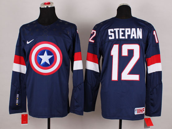 Mens nhl captain america #12 stepan blue Jersey