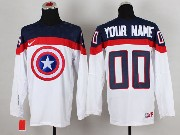 Nhl Captain America (custom Made) White Jersey