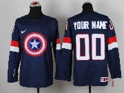 Nhl Captain America (custom Made) Blue Jersey
