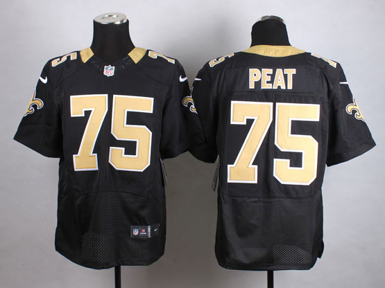 Mens Nfl New Orleans Saints #75 Peat Black Elite Jersey
