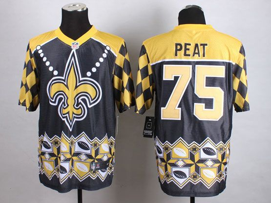 Mens Nfl New Orleans Saints #75 Peat Black&yellow&black 2015 Noble Fashion Elite Jersey