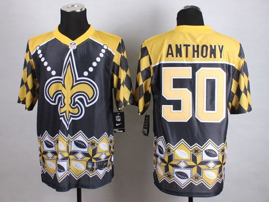 Mens Nfl New Orleans Saints #50 Anthony Black&yellow&black 2015 Noble Fashion Elite Jersey