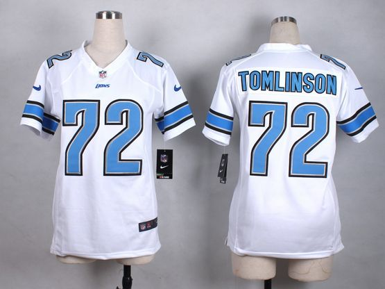 Mens Nfl Detroit Lions #72 Tomlinson White Game Jersey