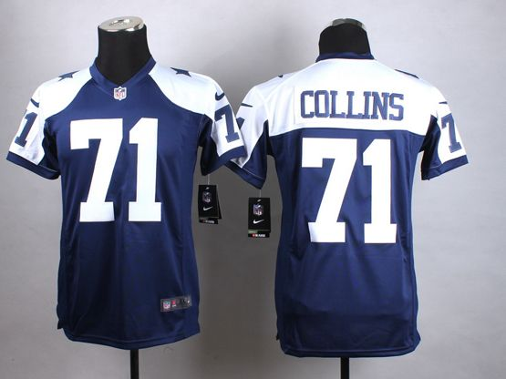 Mens Nfl Dallas Cowboys #71 Collins Blue Thanksgiving Game Jersey