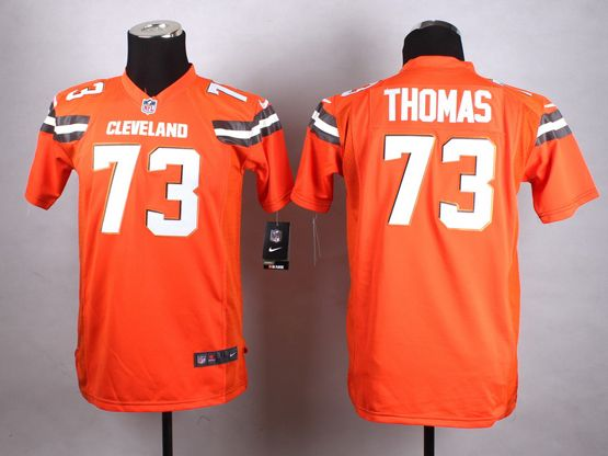 Mens Nfl Cleveland Browns #73 Thomas Orange (2015 New) Game Jersey