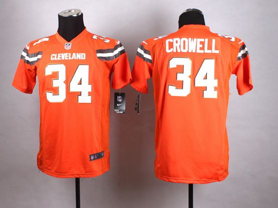 Mens Nfl Cleveland Browns #34 Crowell Orange (2015 New) Game Jersey