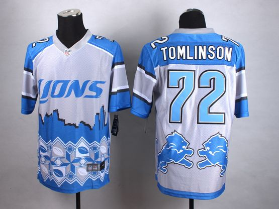 Mens Nfl Detroit Lions #72 Tomlinson Blue&white 2015 Noble Fashion Elite Jersey