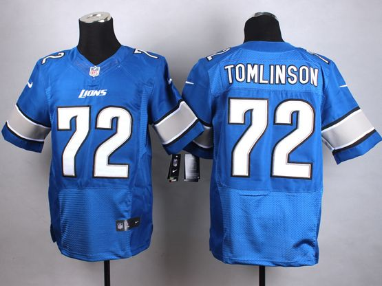 mens nfl detroit lions #72 tomlinson Light Blue elite jersey