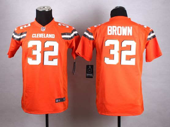 Mens Nfl Cleveland Browns #32 Brown Orange (2015 New) Game Jersey