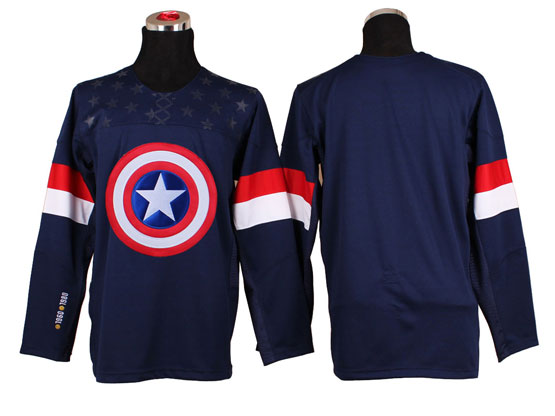Captain America (blank) Blue Ice Hockey Jersey